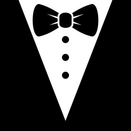 in  shirt: Pajarita y Negro Icono Traje. Ilustraci�n vectorial