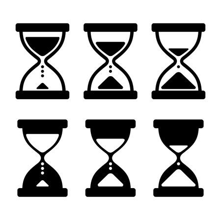 vidrio: Iconos de reloj de arena de cristal Set. Ilustraci�n vectorial Vectores