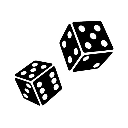 Two Black Dice Cubes on White Background. Vector Illustrations Vettoriali
