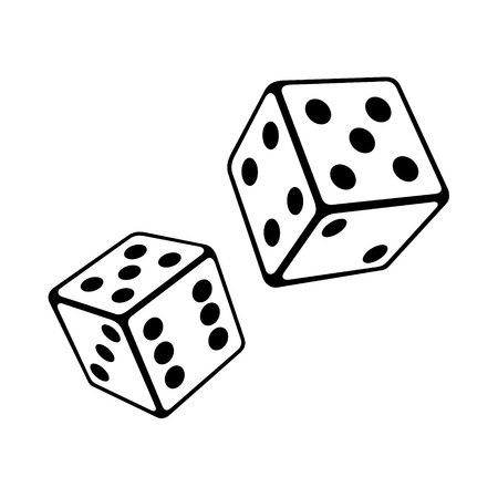 Two Dice Cubes on White Background. Vector Illustrations