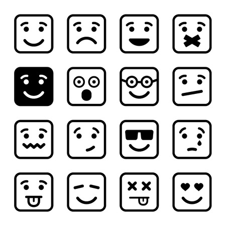 sad love: Square Smiley faces set.