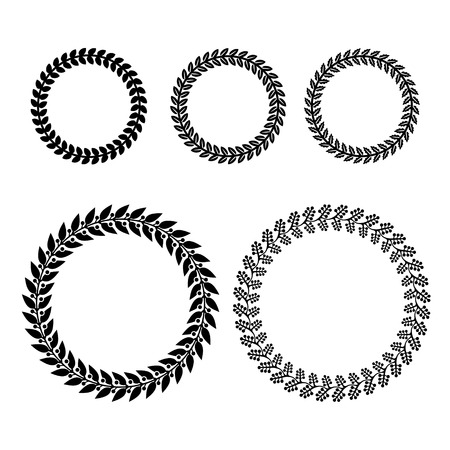 wreaths: Laurel Wreaths Set on White Background. Vector illustration