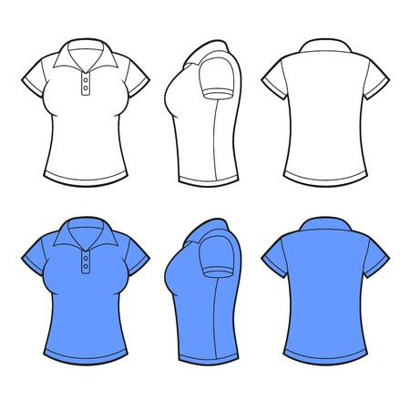 Women Polo Shirt Template. Front, back and side view. Vector illustration