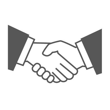 contratos: Gris del icono del apretón de manos en el fondo blanco. Ilustración vectorial