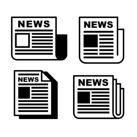 newspaper headline: Newspaper icons set on white . Vector illustration EPS8.