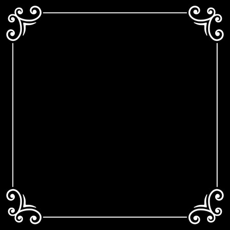 silent: Retro Silent Movie Calligraphic Frame on Black Screen. Vector Illustration