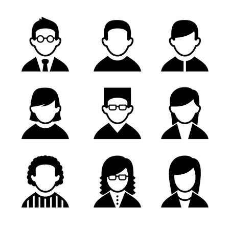 male teenager: Managers and Programmers User Icons Set. Vector Illustration