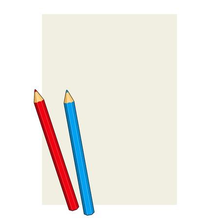 Twee gekleurde potloden op een blanco papier.