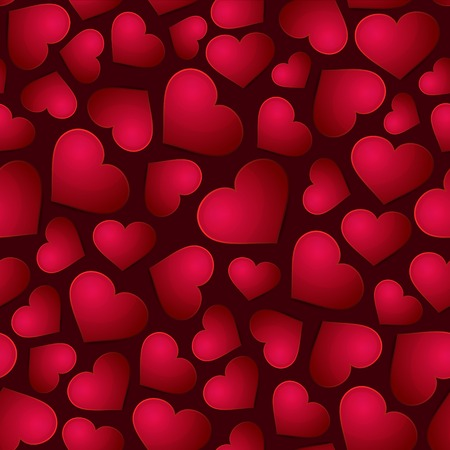 Red Hearts Seamless Background Vector