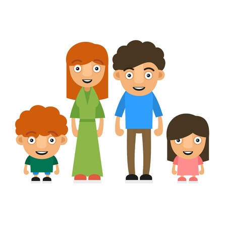 Family Illustration With Two Children. Vector Illustration