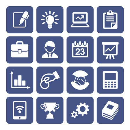 business connection: Business Icons Set Illustration