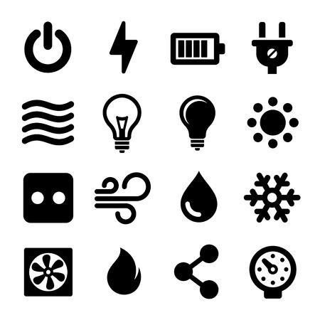 cables electricos: Electricidad Icons Set Vectores