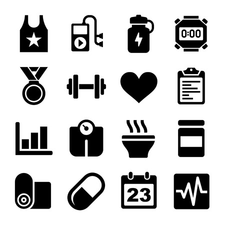 exercise machine: Fitness and Health Icons Set