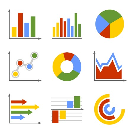 컬러 비즈니스 그래프 및 차트 세트