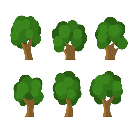 Set of Different Green Trees Icons. Vector Vector