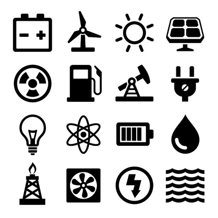 solar power station: Energy Icons Set