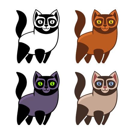 kitties: Set of Cartoon Kitties or Cats.