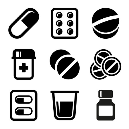 heartache: Pills and Capsules Icons Set Illustration