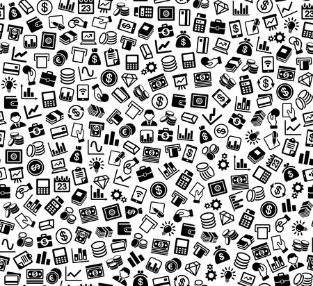 handclasp: Business and Finance Seamless Pattern. Background with Silhouette Icons. Vector