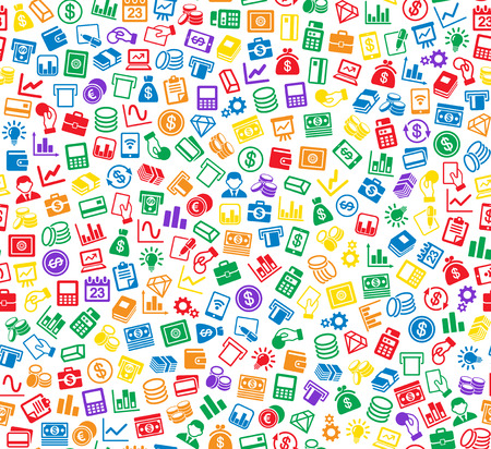 handclasp: Business and Finance Seamless Pattern. Background with Color Icons. Vector
