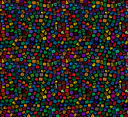 handclasp: Business and Finance Seamless Pattern. Background with Color Icons on Black. Vector Illustration