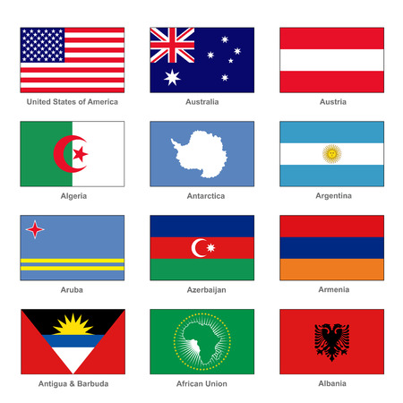 World Flags Set. Name Country of Letter A. Vector Vector