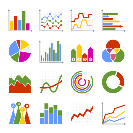 histogram: Business Graph and Diagram Icons Set. Vector