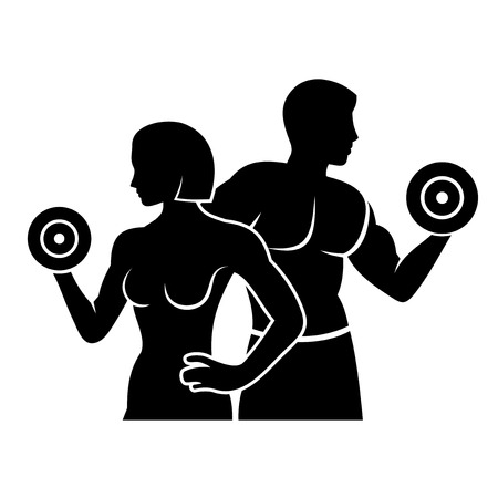 female bodybuilder: Man and Woman Fitness Silhouette Vector Logo Icon