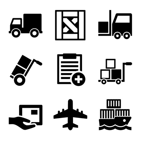 Shipping, Cargo, Warehouse and Logistic Icons Set. Vector Çizim