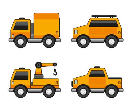 mini bus: Orange Car Icons Set. Vector