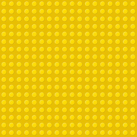 Yellow Seamless Background of Plastic Construction Block. Vector