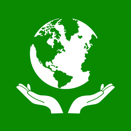 hands holding globe: Hands Holding The Green Earth Globe Vector Illustration