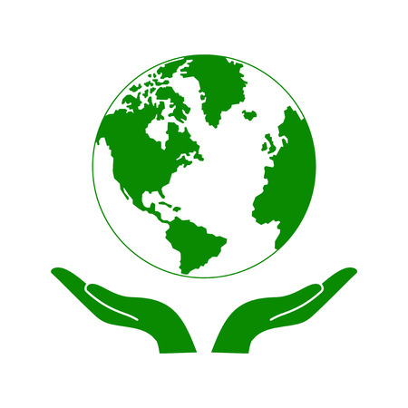 Hands Holding The Green Earth Globe Vector Illustration