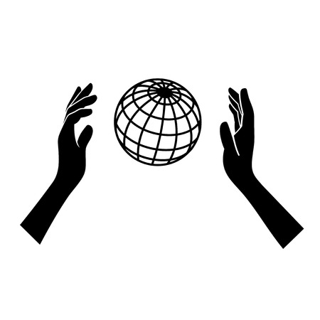 sea pollution: Globe Icon with Hands on White Background. Vector