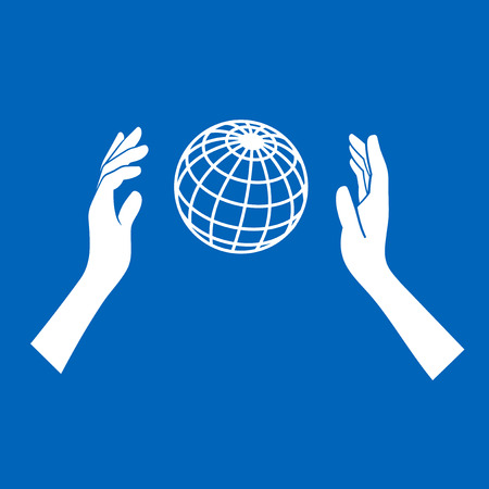 sea pollution: Globe Icon with Hands on Blue Background. Vector