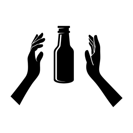 unopened: Beer Bottle in the Hands Isolated on White. Vector Illustration