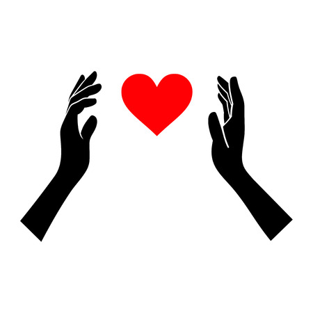 bolt: Heart in Hands Silhouette on White Background. Vector