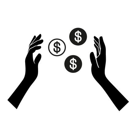 generoso: Dinero en icono de la mano en el fondo blanco. Vector