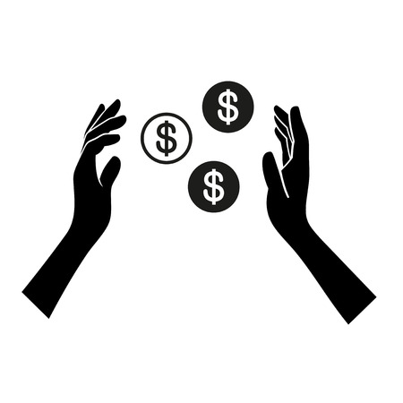generous: Money in Hand Icon on White Background. Vector