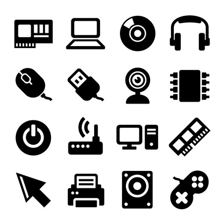 lcd monitor printer: Computer Icons Set on White Background. Vector