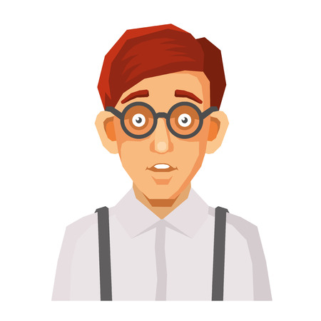 userpic: Cartoon Style Portrait of Nerd with Glasses and Green Pullover. Vector