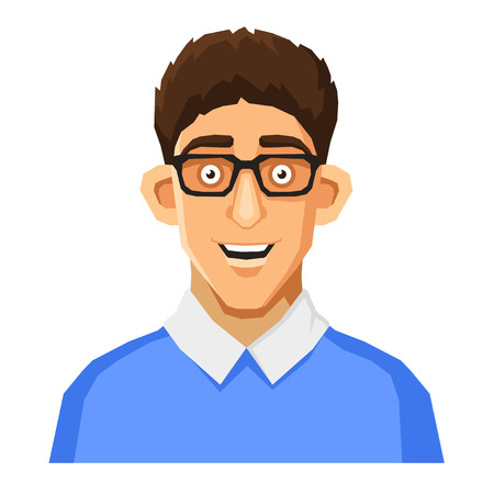 userpic: Cartoon Style Portrait of Nerd with Glasses and Blue Pullover. Vector