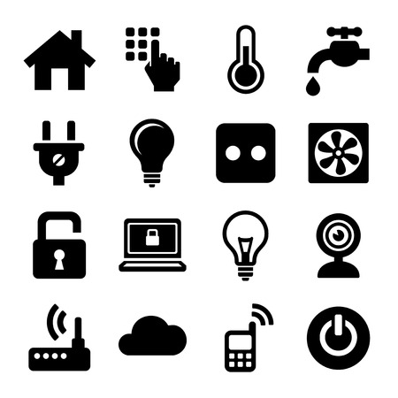 Smart Home Management Icons Set. Vector Çizim