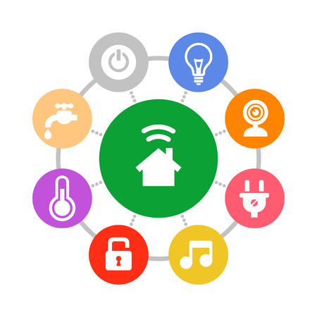 Smart Home System Icons Set Flat Design Style. Vector Vettoriali