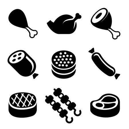barbecue ribs: Meat Icons Set