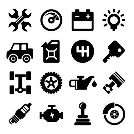repuestos de carros: Iconos de servicio de reparación de automóviles Vectores