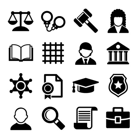 justice court: Law and Justice Icons Set. Vector Illustration