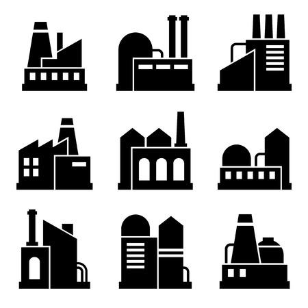 batiment industriel: Usine et Industrial Power Building Icon Set. Vecteur