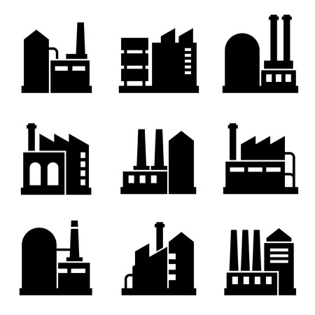 industrial icon: Factory and Power Industrial Building Icon Set 2. Vector Illustration