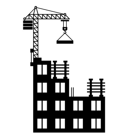home clipart: Building Construction with Crane on White Background. Vector